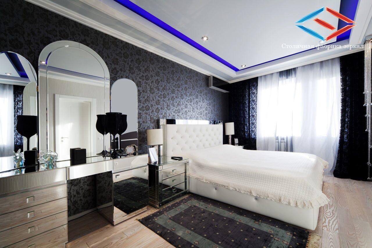 Дизайн черной спальни интерьер